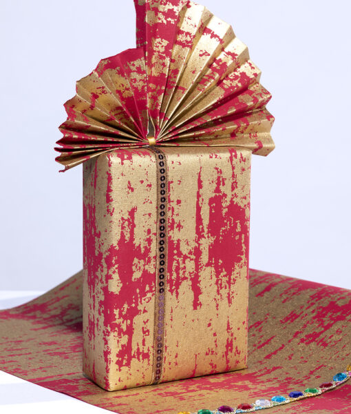 Wrapping paper red splash is contemporary, eco friendly & sustainable.