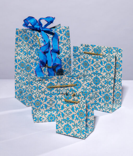 Handmade gift bags blue florentine are elegant, luxurious and eco friendly.