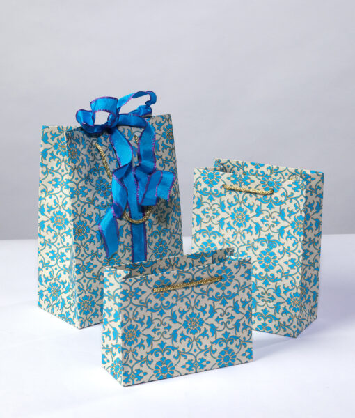 Gift Bag blue florentine is rich, elegant, luxurious and eco friendly too.