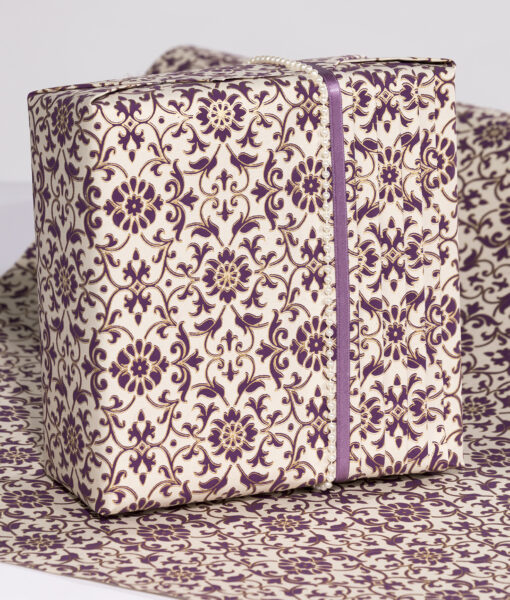 Wrapping paper Purple Florentine is rich, elegant and Eco friendly too.
