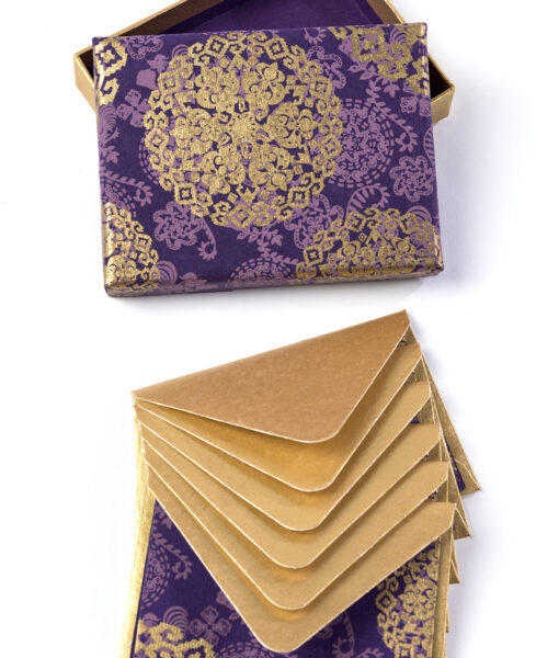 Note card purple medallion is rich, elegant & made from eco friendly paper.