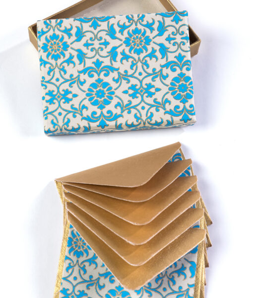 Note card blue florentine is smart, elegant & made from eco friendly paper.