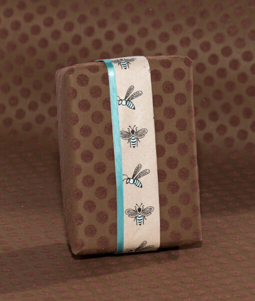 Wrapping paper brown flock dot is eco friendly, handmade & sustainable.
