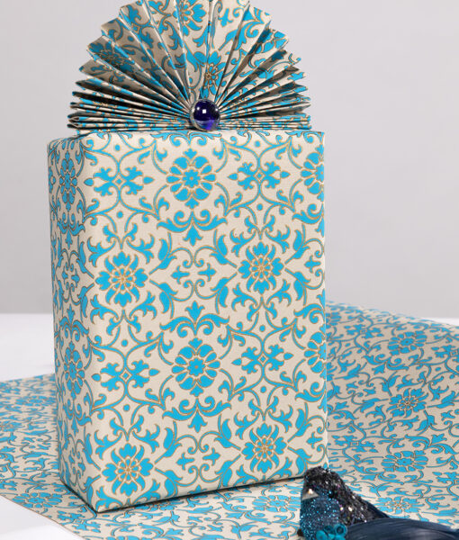 Wrapping paper Turquoise Florentine is rich, elegant and Eco friendly too.