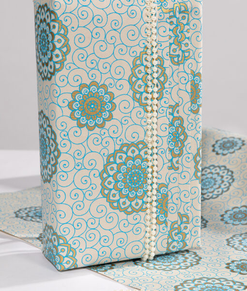 Wrapping paper Turquoise Rangoli print is eco friendly & luxurious