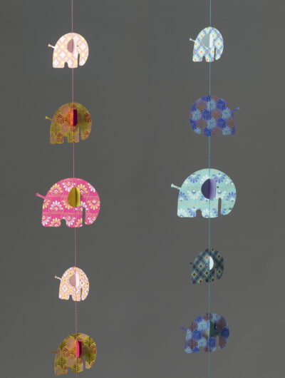 Elephant paper mobiles are handmade, eco friendly and ever so colourful.