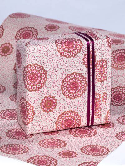Wrapping paper Pink Rangoli print is eco friendly, luxurious and colourful.
